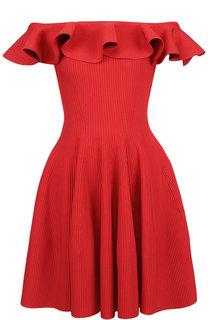 Приталенное мини-платье с оборкой Alexander McQueen
