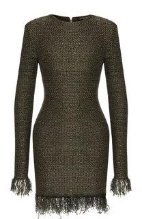Вязаное мини-платье с бахромой Balmain