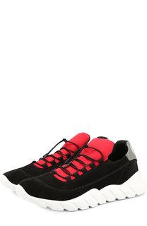 Замшевые кроссовки на шнуровке Fendi