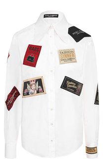 Хлопковая блуза с декоративными нашивками Dolce & Gabbana