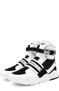 Высокие кожаные кроссовки Exton без шнуровки Balmain