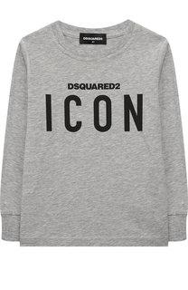 Хлопковый лонгслив с логотипом бренда Dsquared2