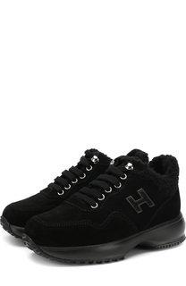 Утепленные замшевые кроссовки Hogan