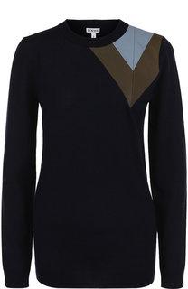 Шерстяной пуловер с контрастной вставкой Loewe