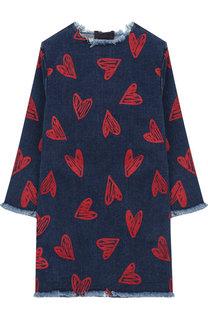 Джинсовое платье прямого кроя с бахромой Stella McCartney