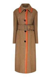 Бежевое пальто с контрастной отделкой Marni