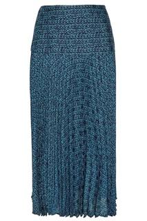 Синяя юбка с узором Fendi