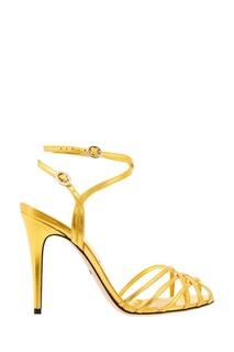 Золотистые кожаные босоножки Gucci