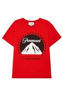 Красная футболка с принтом Gucci