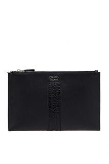 Плоская сумка из кожи Prada