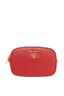 Поясная сумка из красной кожи Prada