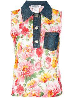 топ с цветочным узором и джинсовым воротником Christian Dior Vintage