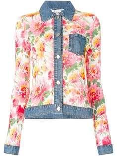 рубашка с цветочным принтом и джинсовой отделкой Christian Dior Vintage