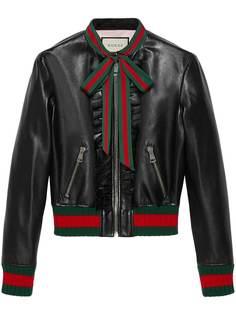 куртка-бомбер с рюшами и завязками на бант Gucci