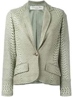 пиджак c эффектом змеиной кожи и перфорацией Christian Dior Vintage