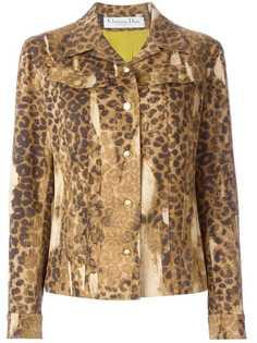 джинсовый пиджак с леопардовым принтом Christian Dior Vintage