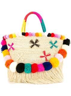 плетеная сумка-тоут с помпонами Sensi Studio