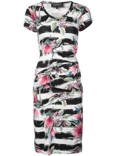 полосатое платье с цветочным принтом Nicole Miller