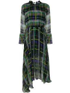 клетчатое платье асимметричного кроя MSGM