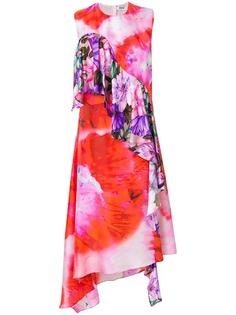 платье с рюшами и цветочным принтом MSGM