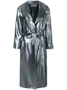 легкое пальто свободного кроя с металлическим отблеском Alberta Ferretti