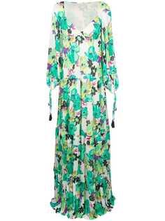 длинное многоярусное платье с цветочным рисунком Etro