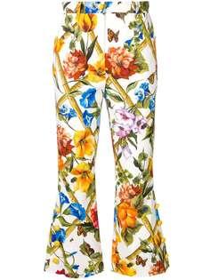 расклешенные укороченные брюки с цветочным принтом Dolce & Gabbana