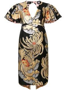 платье с оборками с принтом Rochas