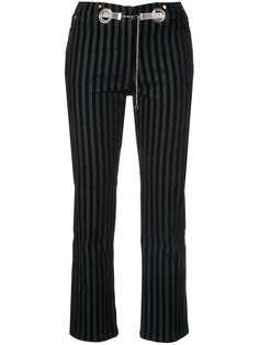 бархатные брюки в полоску с металлическими вставками Miaou