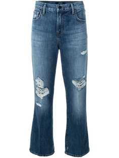 укороченные джинсы с декоративными дырами J Brand