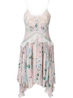 асимметричное платье с цветочным рисунком и кружевом Self-Portrait