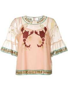 прозрачная блузка с вышивкой Muveil