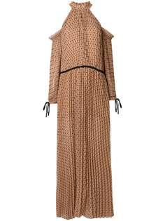 плиссированное платье с открытыми плечами Self-Portrait
