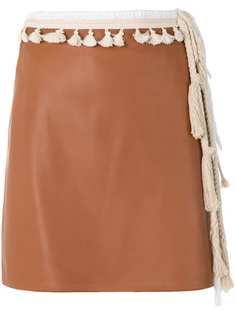 мини-юбка прямого кроя с кисточками Loewe