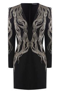 Платье из смеси шерсти и шелка с декоративной отделкой Alexander McQueen