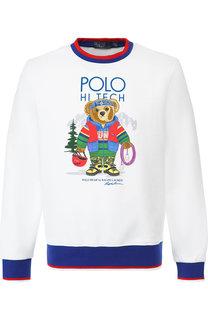 Худи с принтом и контрастной отделкой Polo Ralph Lauren
