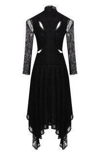 Кружевное платье-миди с воротником-стойкой Alexander McQueen