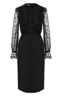 Приталенное платье с кружевными рукавами Valentino