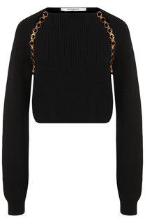 Шерстяной пуловер с декоративной вставкой Givenchy
