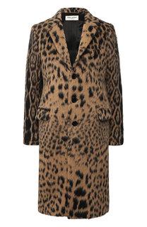 Шерстяное пальто с принтом Saint Laurent