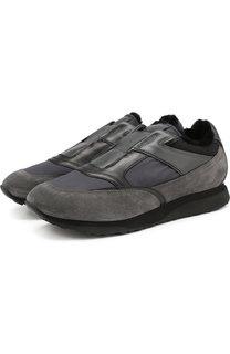 Комбинированные кроссовки без шнуровки с внутренней меховой отделкой Santoni