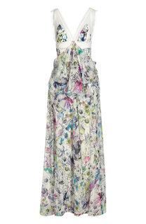 Шелковое платье в пол с завышенной талией и цветочным принтом Roberto Cavalli