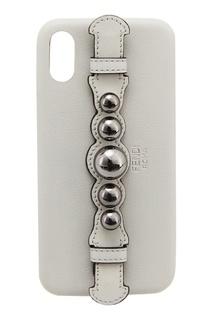 Серый чехол для iPhone X Fendi