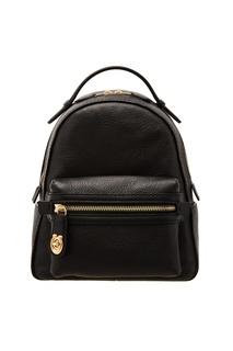 Меленький черный кожаный рюкзак Coach
