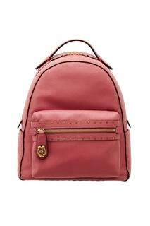 Розовый кожаный рюкзак с заклепками Coach