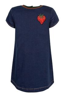 Джинсовое платье с вышивкой Gucci Kids