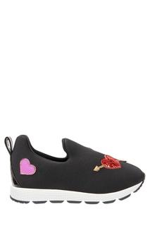 Черные кроссовки с аппликацией Dolce&Gabbana Kids