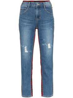 джинсы прямого кроя с панелями в шотландскую клетку SJYP