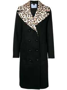 двубортное пальто с леопардовым принтом Blumarine