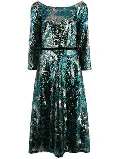 платье миди с пайетками Marchesa Notte